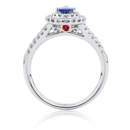 Michael Hill Designer Ring with Tanzanite & 1/2 Carat TW of Diamonds in 14ct White & Rose Gold