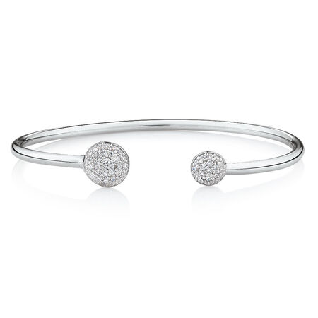 Open Circle Bangle with Cubic Zirconia in Sterling Silver