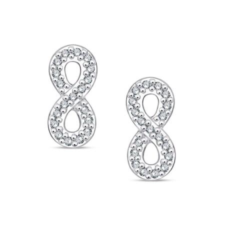 Infinity Stud Earrings With Diamonds In Sterling Silver
