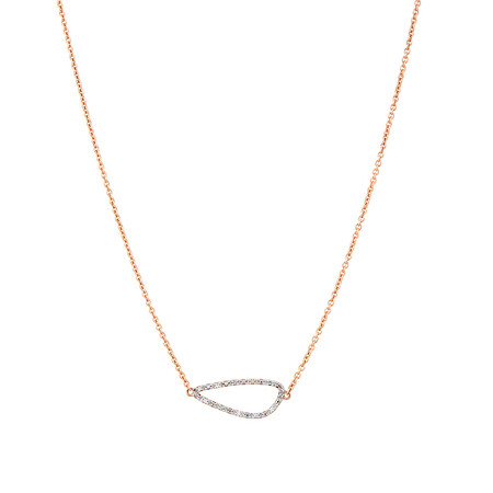 Organic Shaped Necklace with Diamonds in 10ct Rose Gold