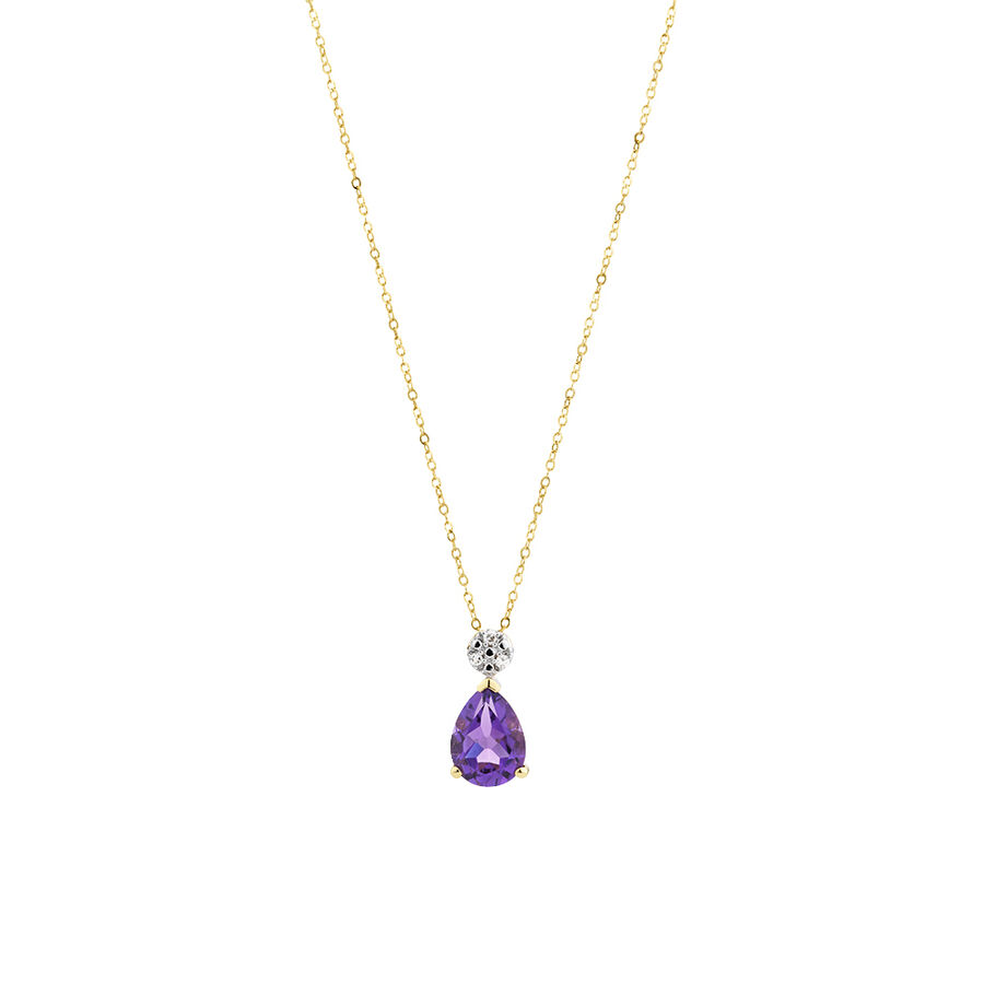 Pendant with Amethyst and Diamonds in 10ct Yellow & White Gold