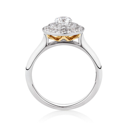 Whitefire Engagement Ring with 3/4 Carat TW of Diamonds in 18ct White & 22ct Yellow Gold
