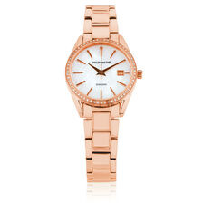 Ladies Watch with Diamonds & Mother of Pearl in Rose Tone Stainless Steel