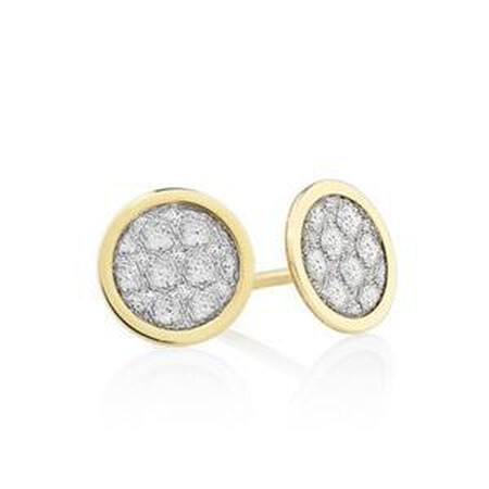 Small Circle Glitter Stud Earrings in 10ct Yellow Gold