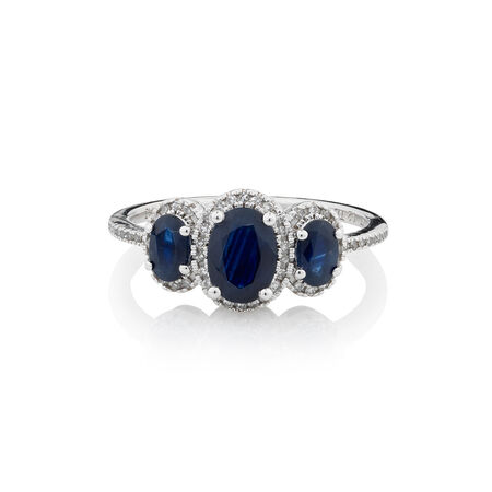 Online Exclusive - Ring with 0.13 Carat TW of Diamonds & Sapphire in 10ct White Gold