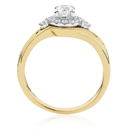 Engagement Ring with 0.60 Carat TW of Diamonds in 10ct Yellow & White Gold