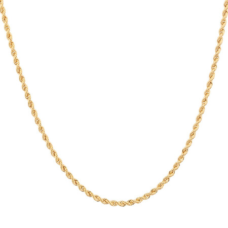 """60cm (24"""") Hollow Rope Chain in 10ct Yellow Gold"""