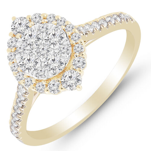 Cluster Ring with 3/4 Carat TW of Diamonds in 10ct Yellow Gold