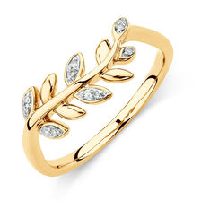 Olive Leaf Ring with Diamonds in 10ct Yellow Gold
