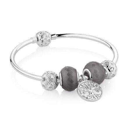"""19cm (7.5"""") Tree of Life Starter Charm Bangle with Cubic Zirconia & Glass in Sterling Silver"""