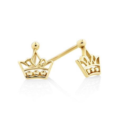 Crown Stud Earrings in 10ct Yellow Gold