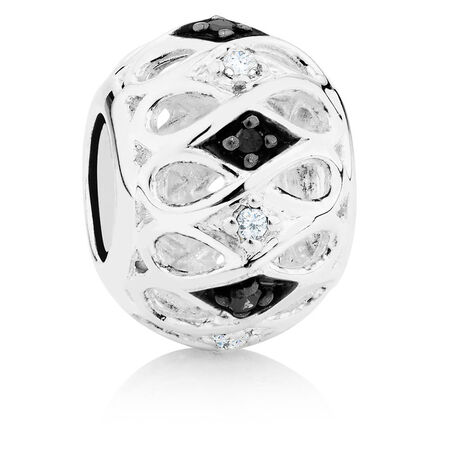 White & Enhanced Black Diamond Set Marrakesh Charm