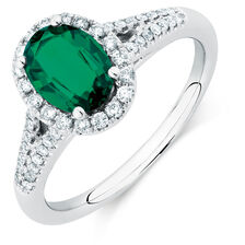 Michael Hill Designer Ring with Emerald & 1/4 Carat TW of Diamonds in 14ct White & Rose Gold