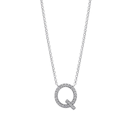 """Q"" Initial necklace with 0.10 Carat TW of Diamonds in 10ct White Gold"