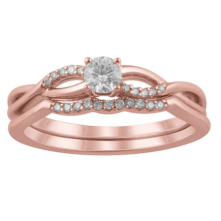Twist Bridal Set with 0.25 Carat TW of Diamonds in 14ct Rose Gold