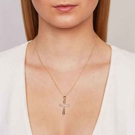 Cross Pendant in 10ct Yellow & White Gold