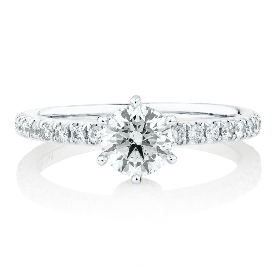 Sir Michael Hill Designer Engagement Ring With 1 Carat TW Of Diamonds In 14ct White & Rose Gold