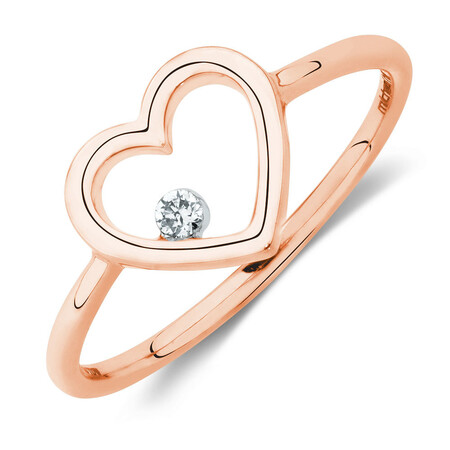 Heart Ring With a Diamond In 10ct Rose Gold