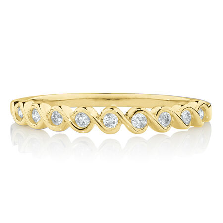 Fancy Stacker Ring with 0.12 Carat TW of Diamonds in 10ct Yellow Gold