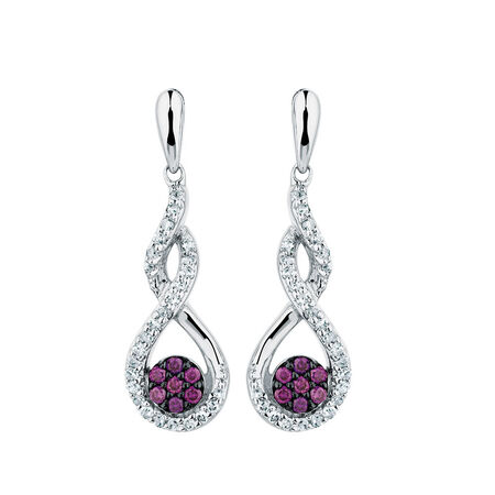 Online Exclusive - Drop Earrings with 1/4 Carat TW of White &  Enhanced Purple Diamonds in Sterling Silver