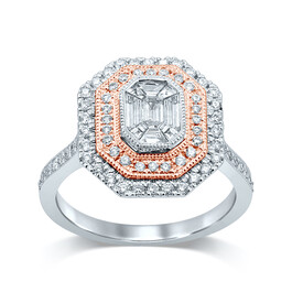 Ring with 0.75 Carat TW of Diamonds in 14ct White & Rose Gold