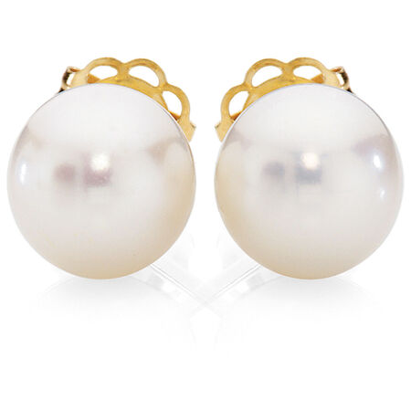 Stud Earrings with Cultured Freshwater Pearl in 10ct Yellow Gold