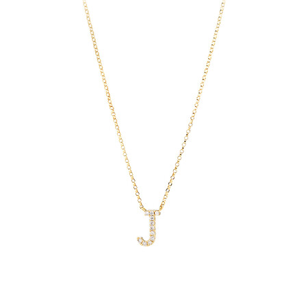 """""""J"""" Initial Necklace with 0.10 Carat TW of Diamonds in 10ct Yellow Gold"""