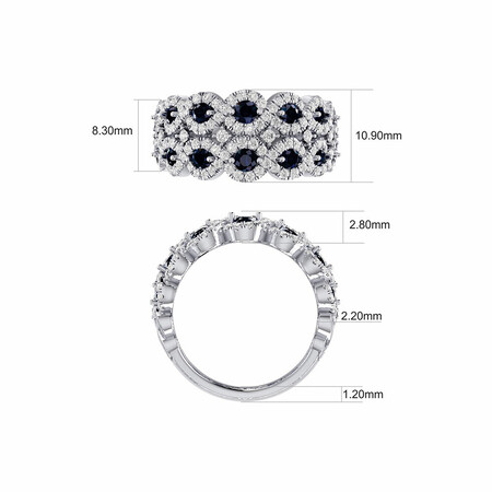 Ring with Sapphire & 0.80 Carat TW of Diamonds in 14ct White Gold