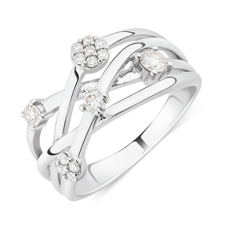 Scatter Ring With 0.34 Carat TW Diamonds In 10ct White Gold