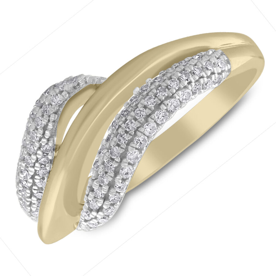 Twist Ring with 0.33 Carat TW of Diamonds in 10ct Yellow Gold