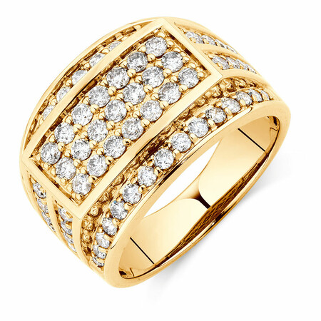 Men's Ring with 1.95 Carat TW of Diamonds in 10ct Yellow Gold