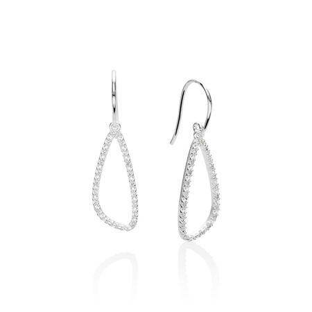 Organic Shape Earrings with Cubic Zirconia in Sterling Silver