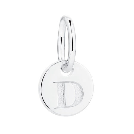 """""""D"""" Initial Mini Pendant in Sterling Silver"""