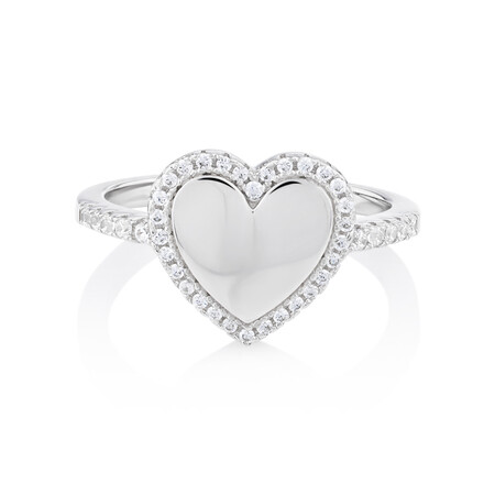 Heart Ring with Cubic Zirconia in Sterling Silver