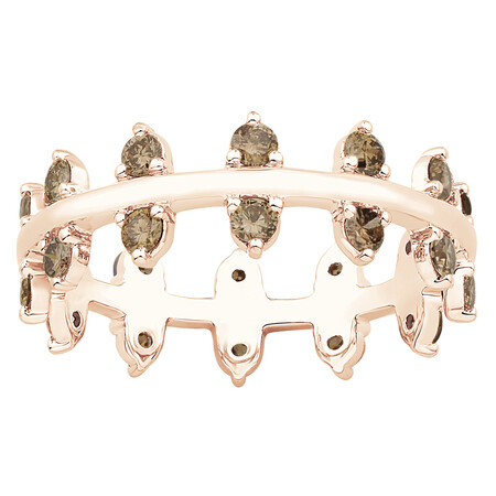 Zipper Ring with 0.82 Carat TW of Champagne Diamonds in 10ct Rose Gold