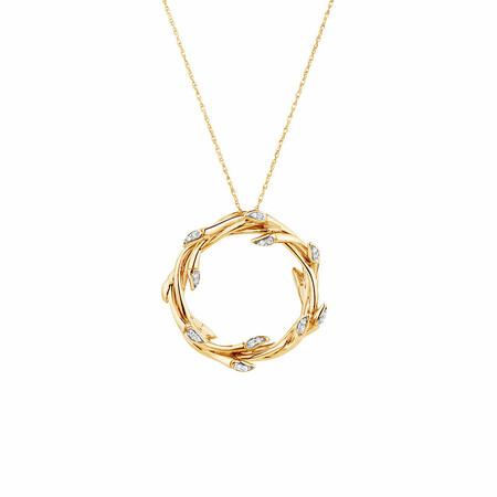 Medium Willow Pendant with Diamonds in 10ct Yellow Gold