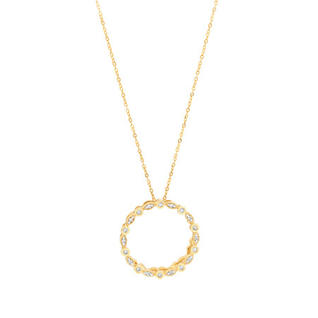 Circle Necklace with 0.10 Carat TW of Diamonds in 10ct Yellow Gold