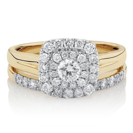 Bridal Set with 0.90 Carat TW of Diamonds in 10ct Yellow & White Gold