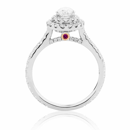 Sir Michael Hill Designer Bridal Double Halo Engagement Ring with 1.20 Carat TW of Diamonds in 14ct White Gold