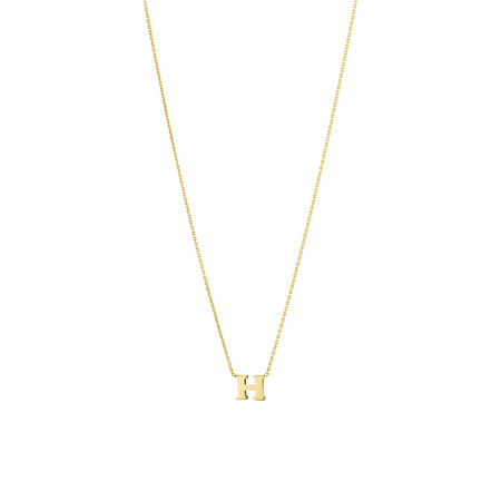 """H"" Initial Necklace in 10ct Yellow Gold"