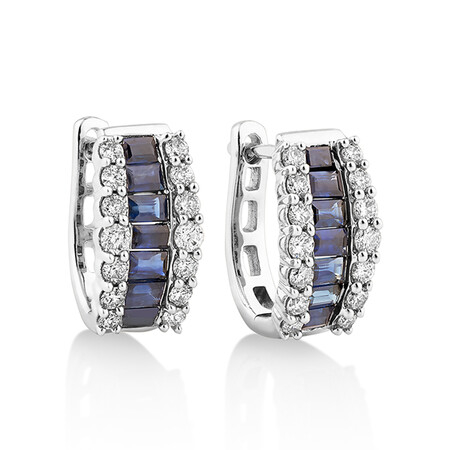 Huggie Earrings with Natural Blue Sapphire & 0.43 Carat TW of Diamonds In 10ct White Gold