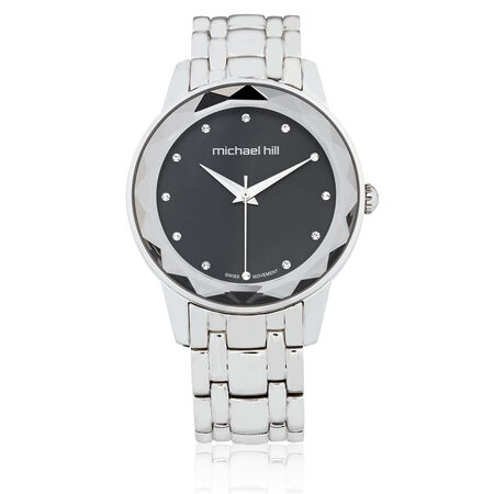 Ladies Stone Set Watch in Silver Stainless Steel