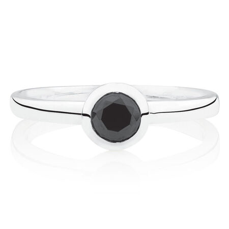 Round Stacker Ring with Black Cubic Zirconia in Sterling Silver