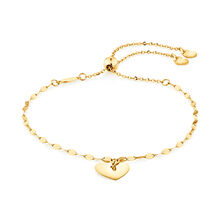 Adjustable Heart Bolo Bracelet in 10ct Yellow Gold