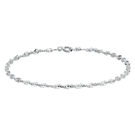 "21cm (8"") Singapore Bracelet in 10ct White Gold"