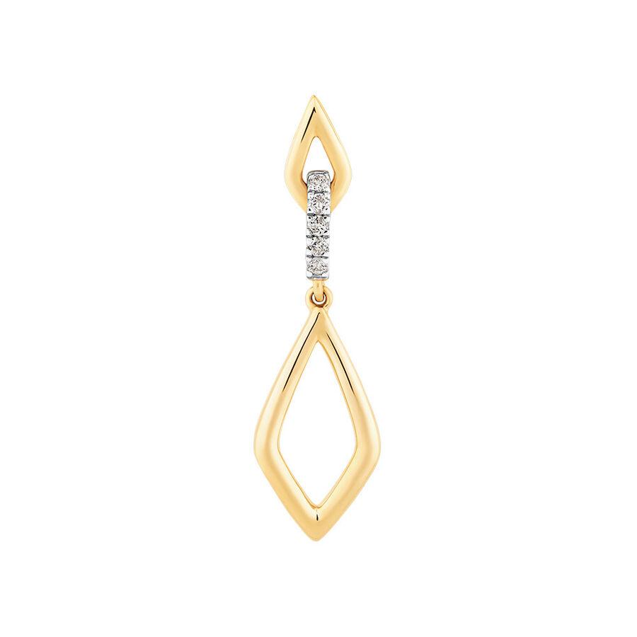 Drop Earrings in 0.10 Carat TW of Diamonds in 10ct Yellow Gold
