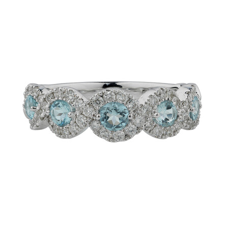 Bubble Ring with 0.46 Carat TW of Diamonds & Natural Aquamarine in 14ct White Gold