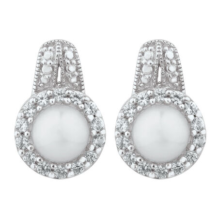 Earrings with Cultured Freshwater Pearls & Created White Sapphire in Sterling Silver