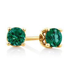 4mm Stud Earrings with Created Emerald in 10ct Yellow Gold