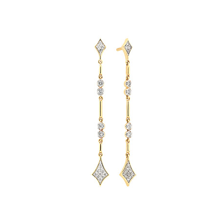 Drop Earrings with 0.16 Carat TW of Diamonds in 10ct Yellow Gold